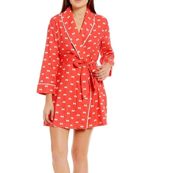 Kate Spade Lux Bow Print Flannel Robe Short L XL 25a165db5